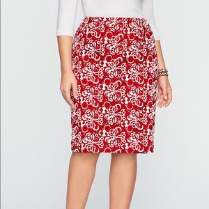 Talbots Red White Embroidered Lace Pencil Skirt 6P